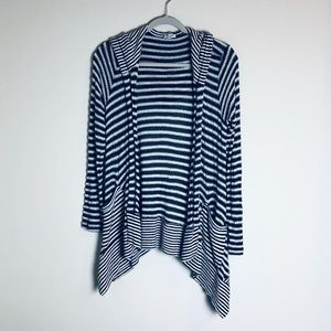 Splendid Navy and Off White Hoodie Cardigan Size S